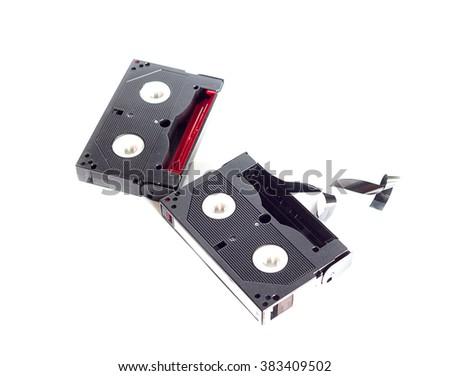 Mini DV Tape Cassette  on white  background - stock photo