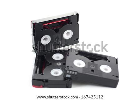 Mini DV tape isolated on a white background - stock photo
