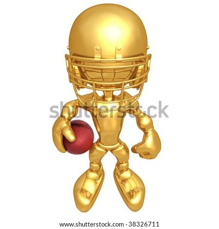 Mini Gold Guy Football Player - stock photo