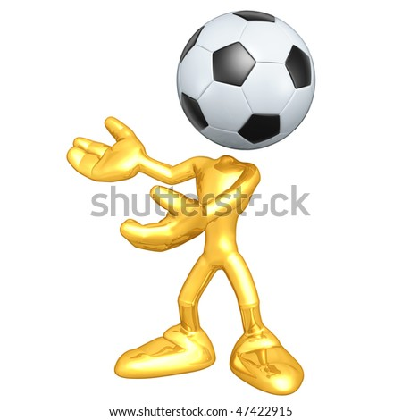 Mini Gold Guy Soccer Football - stock photo