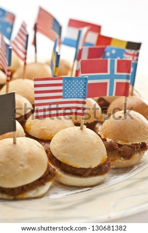 Mini hamburger appetizers - stock photo