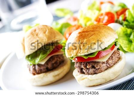Mini Hanburger With Mixed Salad - stock photo