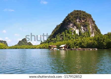 Mini house and stone mountain in the  mangrove swamp - stock photo