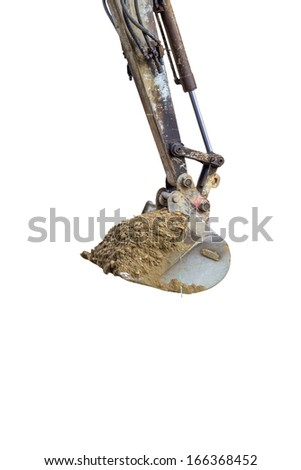 Mini Hydraulic Excavator arm and a bucket at construction site isolated on white background - stock photo
