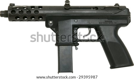 mini machine gun isolated on white - stock photo