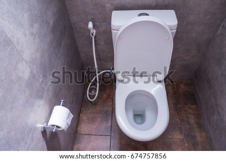 Mini modern toilet in cafe and bakery shop,Thailand