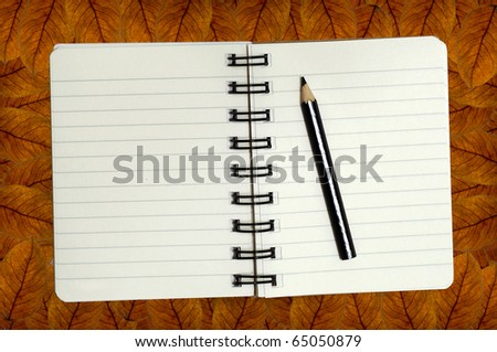 mini notebook on leaf background