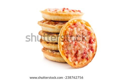 mini pizza on white background - stock photo