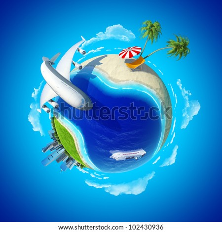 Mini planet concept. City center and tropical beach on the opposite sides. Impressive big plane rounding the globe. Cruise liner in the ocean. Travel and business concept. Earth collection. - stock photo