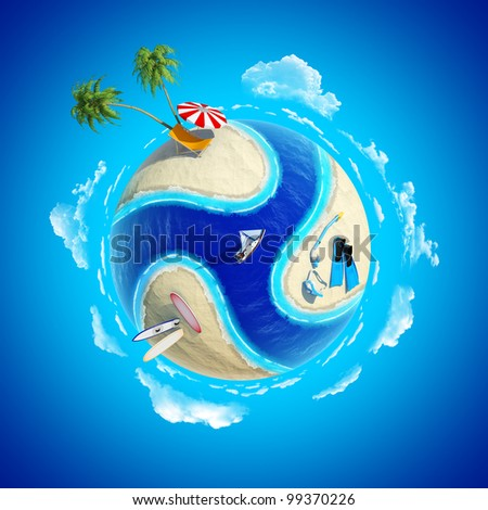 Mini planet concept. Hot tropical sand beach with palms, chair and sun umbrella, diver equipment, surfboards, ocean with yacht. Travel / tourism concept. Earth collection. - stock photo