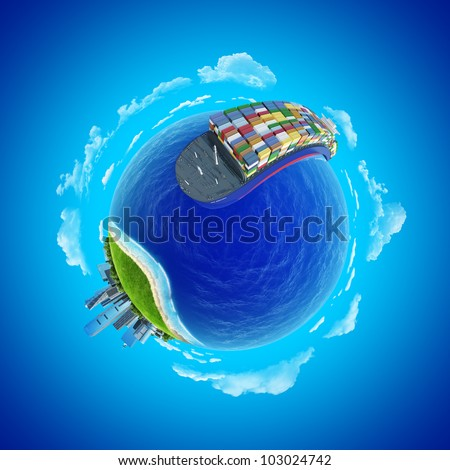 Mini planet concept. Impressive big cargo ship heading to the port rounding the globe. Transportation, expedition, shipment business concept. Earth collection. - stock photo