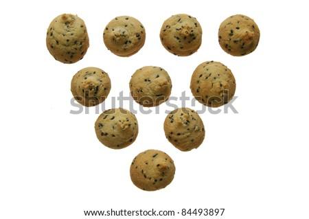 mini poppy cookies isolated on white - stock photo