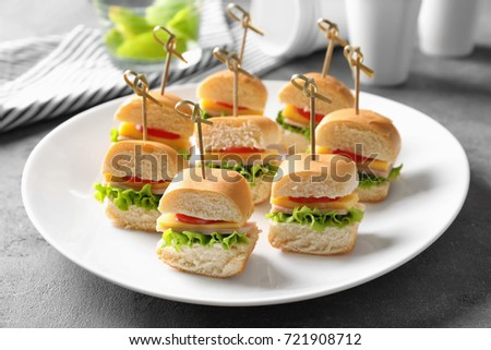 Mini Sandwiches For Baby Shower On Plate