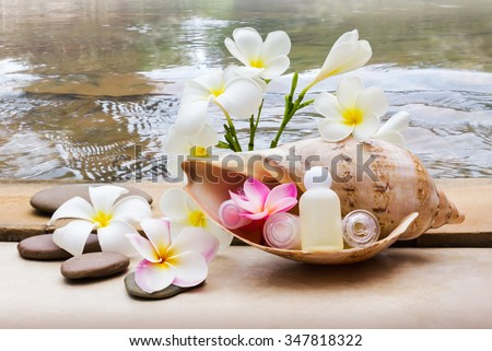 Mini set of bubble bath and shower gel decorated in sea conch shell with pebble rock and flower with crystalline water background, relaxing shower spa in nature concept - stock photo