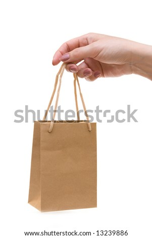 mini shopping bag in hand - stock photo