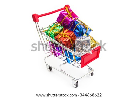 Mini shopping cart filled with gifts