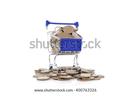 Mini shopping cart with coins on white background - stock photo