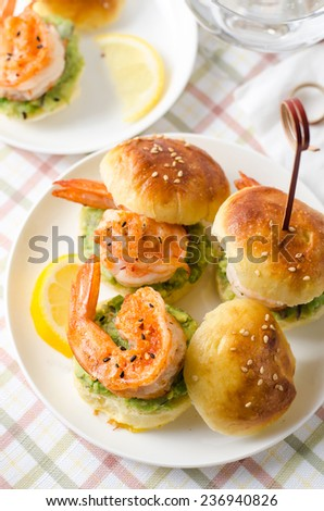 Mini Shrimp Guacamole Sandwich for Party - stock photo