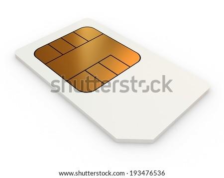 Mini-SIM card, close-up on a white background. - stock photo