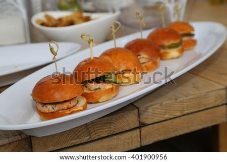 mini sliders made with lobster patties - stock photo