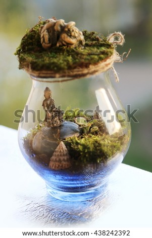 mini terrarium with Buddha and moss