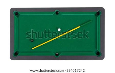 Miniature billiard table on a white background - stock photo