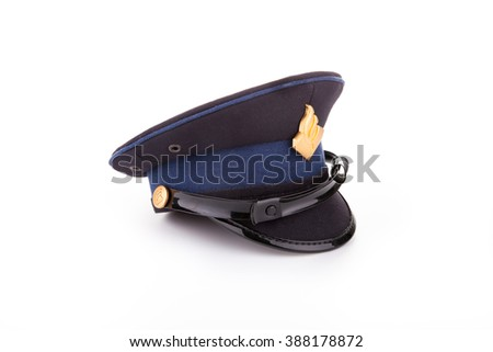 miniature blue police hat from The Netherlands - stock photo