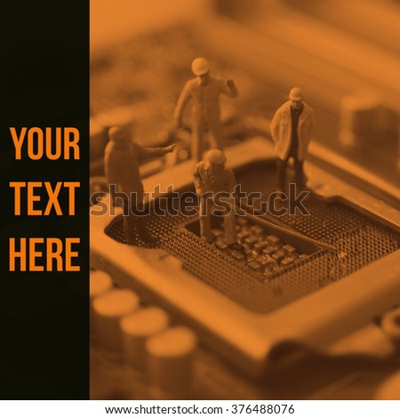 miniature engineer and worker fix mainboard computer and quote on the photo background  - stock photo