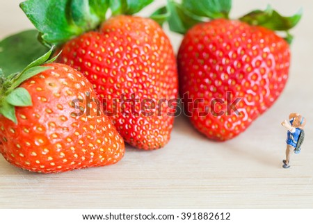 miniature figure (explorer) with ripe red strawberries on wooden table