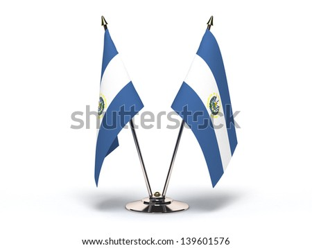 Miniature Flag of El Salvador (Isolated with clipping path) - stock photo