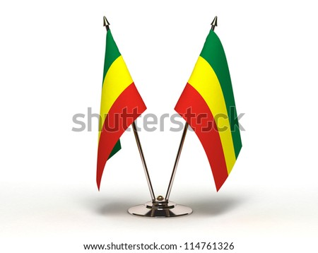 Miniature Flag of Ethiopia (Isolated with clipping path) - stock photo