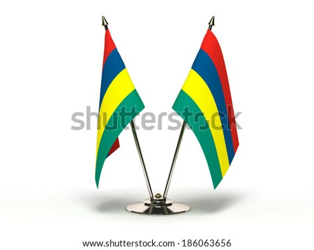 Miniature Flag of Mauritius (Isolated with clipping path) - stock photo