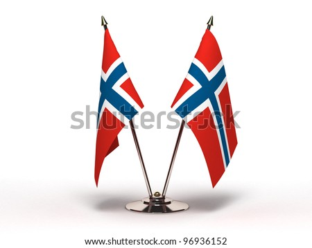 Miniature Flag of Norway (Isolated with clipping path) - stock photo