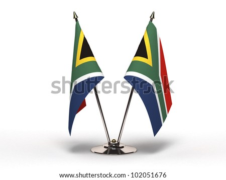 Miniature Flag of South Africa (Isolated with clipping path) - stock photo
