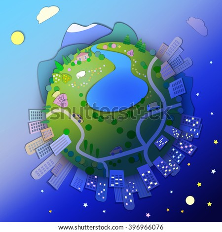 Miniature globe showing various modes life styles.Globe concept showing a rural and urban life style.View of the planet,day and night time.�¡oncept of different time zones,international time