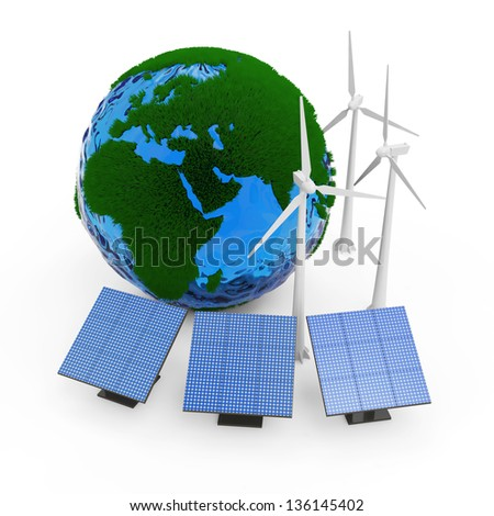 Miniature Green Earth Planet with Windmill and Solar Panels isolated on white background. Alternative Energy Concept