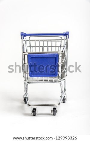 Miniature Grocery Cart With Blank Sign Area On Front/ Vertical Shot/ White Background - stock photo