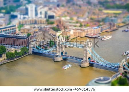 Miniature London Tower Bridge as seen from above. Tilt-shift effect applied. Miniature effect. - stock photo