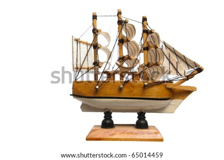 miniature model of a ship isolated on white - stock photo