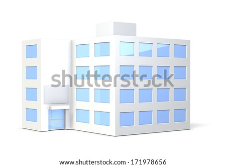 Miniature model of the office building,isolated,computer generated image  - stock photo