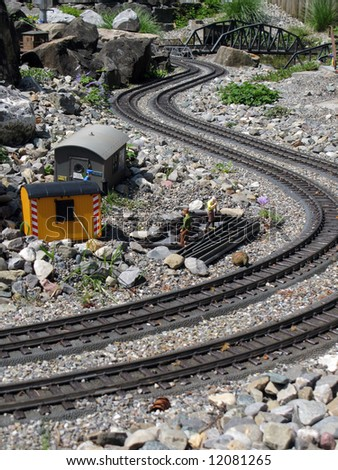 Miniature mountain railway - stock photo