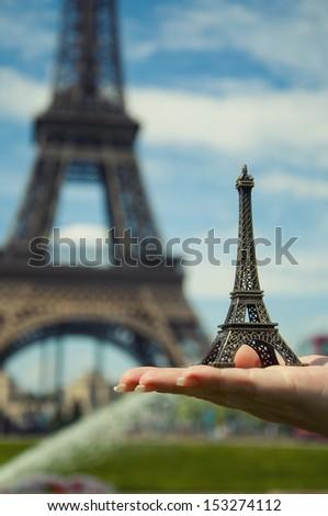 miniature of Tour Eiffel in Paris - stock photo