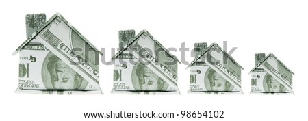 Miniature Paper Buildings on White Background - stock photo