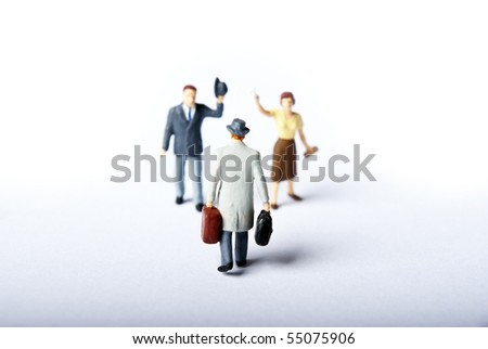 miniature people in travel goodbay - stock photo