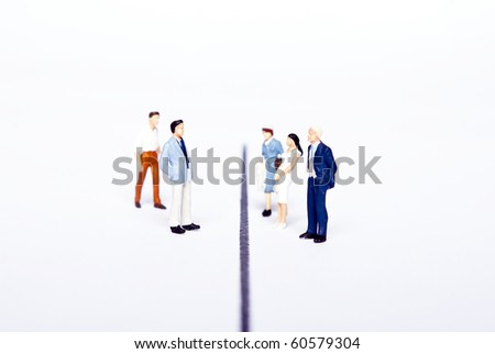 miniature people on line - stock photo