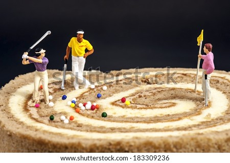 Miniature peoples recreation - stock photo