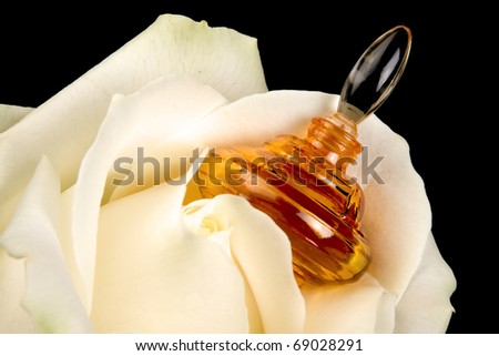 Miniature perfume bottle hidden in the heart of a rose - stock photo