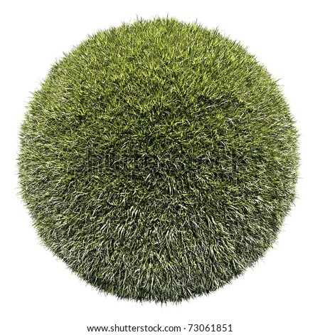 Miniature planet with green grass vegetation, isolated on white - stock photo