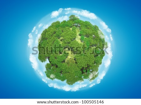 Miniature planet with sparse leafy tree vegetation and clouds on blue sky - stock photo