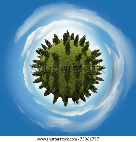 Miniature planet with vegetation and atmosphere with clouds - stock photo